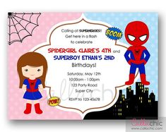 Spiderman and Spidergirl Birthday Invitation by CallaChic on Etsy