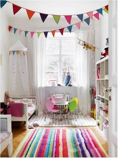 Imagine your white room with bits of bright colours (or whatever colour palette you choose). Bright colours could be in painted dresser or bookshelf, artwork on walls, garlands, curtains, toys on a shelf etc.