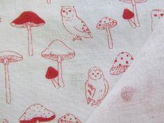 Kokka mushroom and owl double gauze