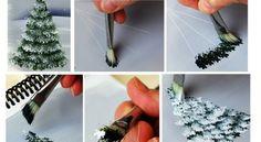 4 Mini tutoriels pour peindre des sapins d'hiver!