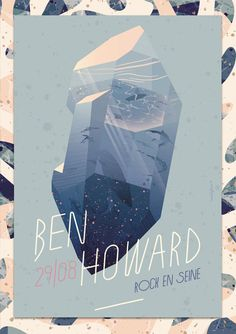 "I had the great pleasure to create a poster for a concert of Ben Howard which took place at the great french festival ""Rock en seine"" on August 29."