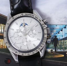 """""""World Here I Come!"""" #Omega 42mm Speedmaster Moonwatch Moonphase Broad Arrow Ref#: 3575.30.00  ($4,175.00 USD) http://www.elementintime.com/Omega-Speedmaster-Moonwatch-Moonphase-3575.30.00-Stainless-Steel-Silver-Dial"""