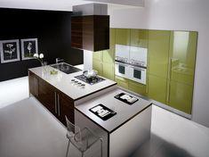 beautiful modern kitchen.  tags: #minimalist . #modern . #green . #kitchen . #interior . #design