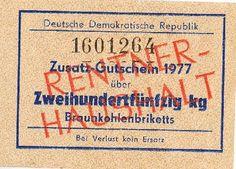 DDR Museum - Museum: Objektdatenbank - Zusatz-Gutschein 1977, Braunkohlebriketts Copyright: DDR Museum, Berlin. Eine kommerzielle Nutzung des Bildes ist nicht erlaubt, but feel free to repin it!