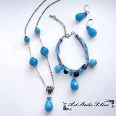 Колье, браслет, серьги Голубой кварц