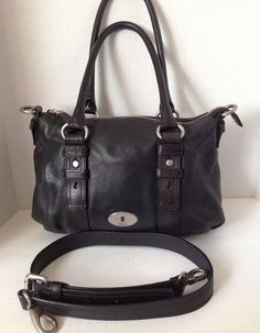 Fossil Key per Maddox Black Leather Convertible Satchel Shoulder Handbag | eBay