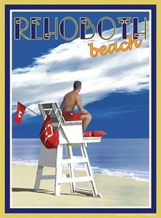Rehoboth Lifeguard Vintage Art Deco Style Travel Poster by Aurelio Grisanty