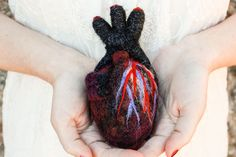 HeartFelt  Anatomical Heart by Once Again Sam. American Made. See the designer's work at the 2016 American Made Show, Washington DC. January 15-17, 2016. americanmadeshow.com #americanmadeshow, #americanmade, #needlefelt, #heart