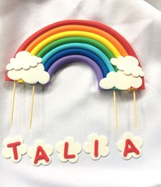 """Rainbow cake topper 7.5"""" x 4"""" standing edible fondant decorations birthday 3D figure clouds birthday theme toddler by Inscribinglives"""