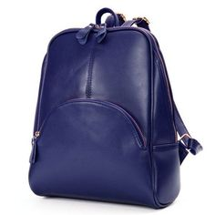 Women Elegant Cowhide fabric Pure Color Satchel School Bags Preppy Stylie Backpack