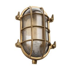 Add retro style to the home with this stunning Bulkhead light from Old School Electric. Made from brass, with a cross over cage frame, this rustic light is perfect for use both outdoors and inside.
