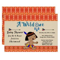 A Wild One Baby Shower Tribal Arrows Abstract Card #wildone #babyshower #tribal #card #invitation #tribalcard #showercard #Zazzle