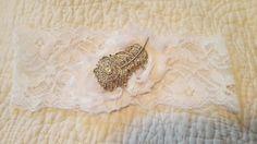 White Bridal Garter  Peacock Garter  by BijouxBridalChicago