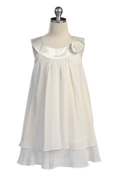 YES!!!     Ivory Satin bib necklin & chiffon A-line flower girl dress K255I $29.95 on www.GirlsDressLine.Com