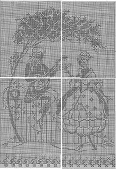 Schemi per il filet: Tenda romantica da lavorare a filet Cross Stitch Designs, Cross Stitch Patterns, Crochet Patterns, Filet Crochet Charts, Free Crochet, Cowboy Crochet, Blackwork Patterns, Crochet Flowers, Projects To Try