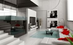 living room with white the dominant color of both the wall and sofas, equipped with a red pillows