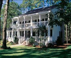 "This is a ""stacked"" porch or plantation style home. I want these stacked porches with the great look of this house. Over 1150 repins. http://houseplans.southernliving.com/plans/SL1825"