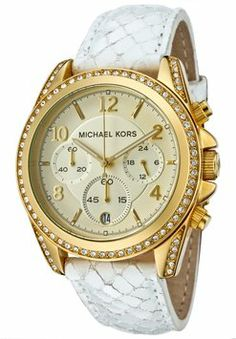 Michael Kors Snakeskin-embossed Leather Gold Chronograph Glitz Spring Summer $152