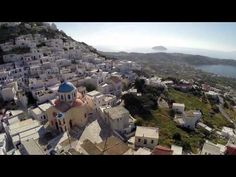 An aerial view of the island of Serifos. Greek Islands, Aerial View, Mount Everest, Mount Rushmore, Greece, Queen, Photo And Video, Mountains, Videos