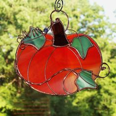 Stained Glass Suncatcher Pumpkin by SunroomGlass on Etsy, $15.00