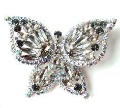 Rhinestone Butterfly Pin | Large Butterfly Brooch Designer Vintage Rhinestone Jewelry Juliana ...
