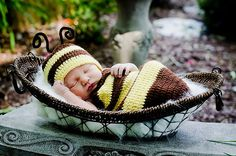 Cocoon and Hat  Bumble Bee set  newborn by CreativeDesignProps, $35.00