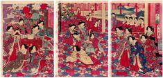 Lotto 00246 N.1 trittico di xilografie ukiyo-e Toyohara Chikanobu MILLE ANNI DI VITA Anno: 1880 Condizioni: segni del tempo Dimensioni: 74,5 x 37 cm