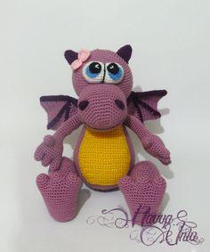 PATTERN - Purple Dragon (Crochet, Amigurumi)