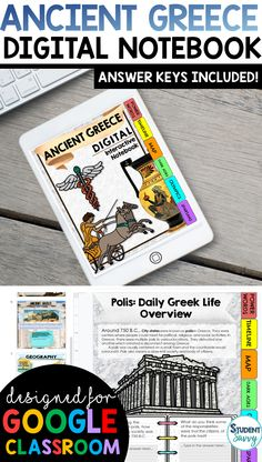 Ancient Greece Interactive Notebook {Digital Version} Digital Interactive Notebook using Google Slides! Graphic organizers that students simply type in! Paperless, colorful & fun activities for students! Vocabulary, graphic organizers, and images included Teaching Activities, Teaching Writing, Teaching Science, Teaching Resources, Teaching Ideas, 6th Grade Social Studies, Teaching Social Studies, Student Teaching, Life Timeline