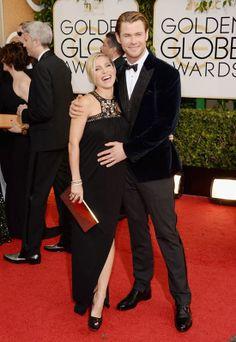 Elsa Pataky paseó su embarazo del brazo de Chris Hemsworth por los Globos de Oro 2014