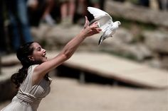 The lighting ceremony of the Olympic flame in ancient Olympia, Greece