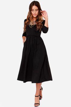 Pretty Black Dress - Open Back Dress - Midi Dress - $48.00