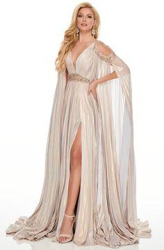 Rachel Allan Couture - 8437 V-Neckline Bejeweled Pleated A-Line Dress Greek Goddess Dress, Greek Dress, Goddess Fancy Dress, Pretty Dresses, Beautiful Dresses, Fantasy Gowns, Fantasy Outfits, Prom Dress Stores, Designer Prom Dresses
