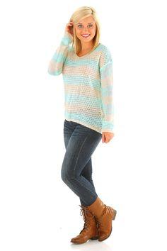 She's So Lucky Sweater: Aqua/Cream #shophopes