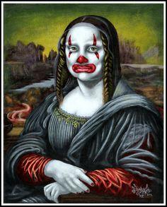 Mona Lisa como un payaso. Imagen por Pascal Leo Cormier (Payazo / Pascalism).