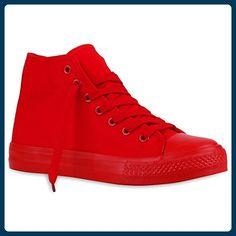 546519449c6cca Damen Sneakers High Top Kult Sport Schnürer Schuhe 120049 Rot Rot 37