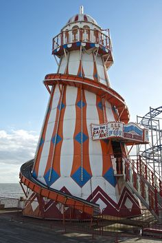 The Helter Skelter on Clacton Pier in Essex, closed down on a wintry day.