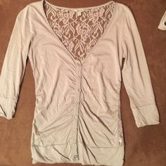 """Guess cardigan!! Lace guess button up.. Very cute.. Worn once, a long time ago.. Too tight on me now.. I weigh 115 lbs, and my height is 5""""4.. Guess Tops Button Down Shirts"""
