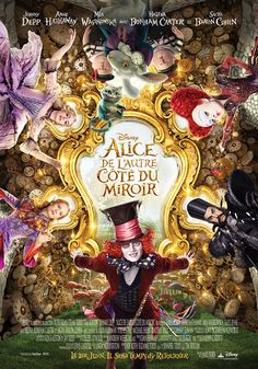 A new poster for Alice Through the Looking Glass has been released courtesy of Disney. It features Johnny Depp, Anne Hathaway, Mia Wasikowska, Sacha Baron Cohen and Helena Bonham Carter. Mia Wasikowska, Tim Burton, Lewis Carroll, Film Disney, Disney Movies, Disney Wiki, Alice Disney, Hd Movies, Movies To Watch