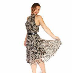 Vintage Halter Dress 1980s Animal Print Dress by ChickClassique, $42.00