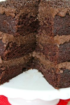 The Greatest Chocolate Cake Recipe ~ Says: the secrets to the amazingness of this cake is three simple ingredients: Buttermilk is the best! Coffee is essential! Pudding mix makes it perfect!.