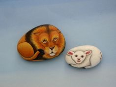 Lion and lamb-painted rocks-ooak 3D art object by RockArtiste on Etsy