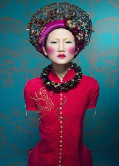 Quang Khu photographs Kha My Van in traditional Asian fashion styled in a couture manner by Kim Tuyen.