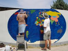 Imagini pentru drawings world map on the wall