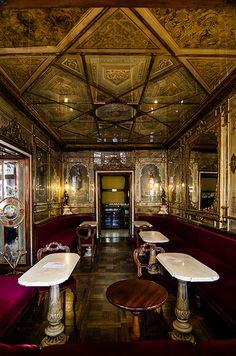 Cafe Florian interior Venice Italy, the first Café in Europe