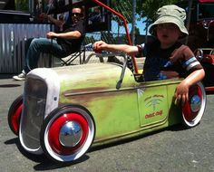 """Pedal car rat rod"", I think his dad has a little extra time on his hands!"