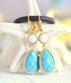 Turquoise Jewelry.  Something Blue. Turquoise Blue and White Teardrop Bridesmaid Earrings by RusticGem.