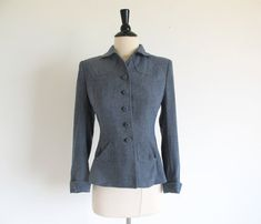 Vintage 40s Gray Wool Jacket 1940 Women's by StraylightVintage