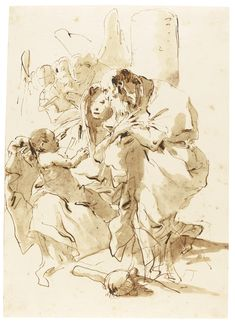 GIOVANNI BATTISTA TIEPOLO, VENICE 1696 - 1770 MADRID, THE HOLY FAMILY WITH ANGELS; part of the famous and much admired series of about seventy-five variations by Giambattista Tiepolo on the theme of the Holy Family, drawings which rank among the highpoints of the artist's draughtsmanship.Pen and brown ink and brown wash 289 by 207 mm; 11 3/8  by 8 1/8  in. Sothebys