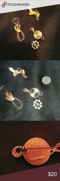 **ESTATE SALE **4 brooches 3 gold tone brooches one silver tone estate from al the only one I found something out about is the last picture where it says jewelarama is from the 60s .(the dime is for size)??thank u so much for looking into my closet . Jewelry
